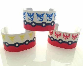 Pokemon Go Inspired Wide Cuff Bracelet - Your Choice Team Instinct Valor or Mystic