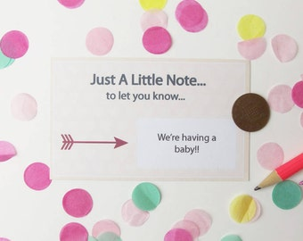Just A Little Note Baby Announcement Scratch Card