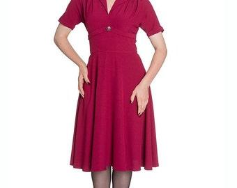 Brand New Stunning Retro 1940s Vintage Style Dress in Raspberry