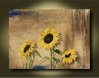 Happy Place...Fine Art by Kimberly Fox...Sunflower Painting...Canvas or Paper print...home decor...available in different sizes