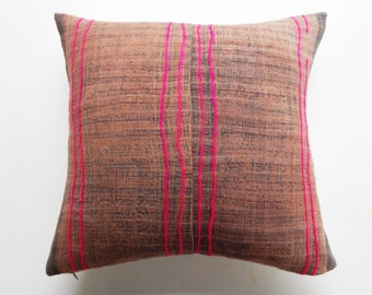 Magenta and Brown Earthy Boho Throw Pillow Cover - Hmong Pillows - Tribal Textile Decorative Pillow Cover