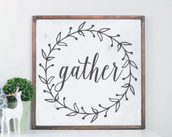Gather Wood Sign, Cedar Frame Sign, Laurel Wreath Sign, Thanksgiving Decor, Fall Decor, Family Room Sign, Gather Framed Sign, Family Sign