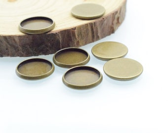 30pcs 12mm Antique Bronze Brass Tray Setting / DIY Button / Bottle Cover Base Settings (no loop) c8378