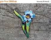 Chinese Export, Enameled Flower Brooch, Pin
