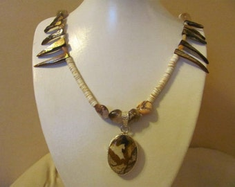 Necklace of Picture Jasper with Abalone Spikes
