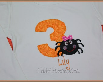 Personalized Spider Halloween Girls Birthday Shirt  Appliqued ANY NUMBER or Letter Tshirt Toddler Fall