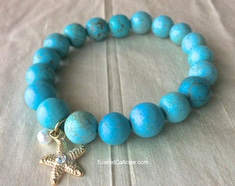 Turquoise Bracelet with Gold Starfish Charm