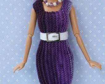 3-piece Barbie Outfit. Purple Dress with Belt and Necklace. Form Fitting Short Dress. Hand Knit. OOAK