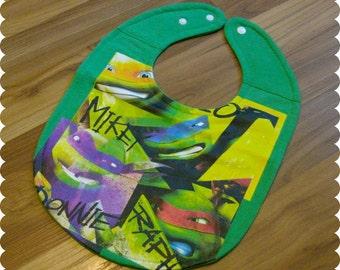 TMNT Teenage Mutant Ninja Turtles Baby Bib, Recycled T-Shirt Baby Bib, Baby Boy Baby Shower Gift