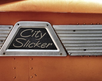 City Slicker Sign, 70's Bus Photo, Industrial Decor