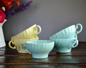 Five Franciscan Coronado Flat Tea Cup Aqua & Yellow Swirl