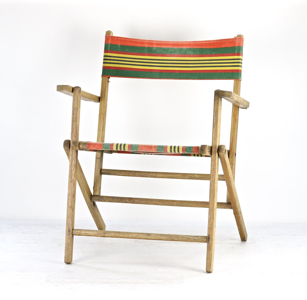 Vintage Striped Folding Deck Chair Vintage Wood by HuntandFound