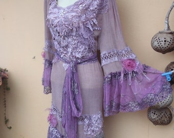 "20%OFF bohemian gypsy lagenlook hippy shabby dress ...smaller to 38"" bust"