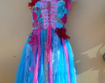 "20% OFF vintage inspired shabby garden bohemian fairy dress,,,small to 36"" bust..."
