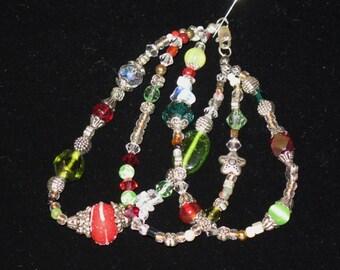 Bracelet - Three Strand Christmas - Holiday Bracelet - Lampglass - Swarovski Crystals - Silvertone Beads