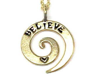Hand Stamped Jewelry - Bronze Spiral Name Necklace - Spiral Jewelry