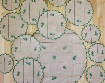 Super Vintage Irish Linen Round Placemats  and Coasters. Taupe with Bright Green Flower sprig. Scallop Edge.