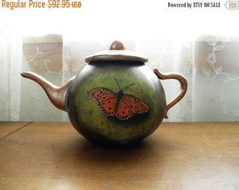 Hand-Carved Painted Butterfly Gourd Faux Teapot, Winner Pearl River Carving Show by Lane Brigham, Carver