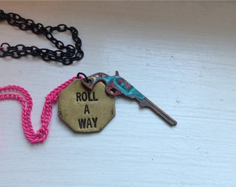Gun Necklace Vintage Repurposed Patina Country Chic Roll Away Country Music Hunter Girl One of a Kind