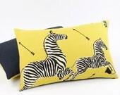 "Scalamandre Yellow Zebra Pillow Cover 16x26"", Lumbar Throw Pillow, Toss Pillow, Yellow Pillows, Right Facing Zebra Migration"