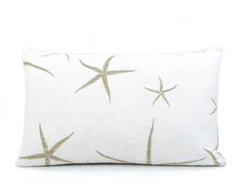 Starfish Lumbar Pillow Cover 12x20, Tan Pillows, Beach Pillow, Coastal Decor Beach, Throw Pillow, Double Sided, Beach Bum Sand