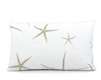 Reversible Starfish Lumbar Pillow Cover 12x20, Tan Pillows, Beach Pillow, Coastal Decor Beach, Throw Pillow, Double Sided, Beach Bum Sand