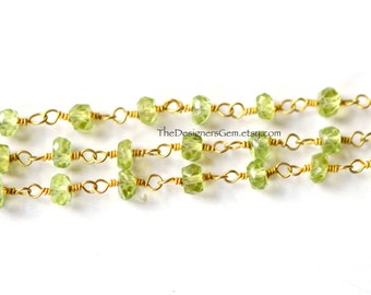 Gold Vermeil Peridot Rondelle 3mm Chain, Peridot Rondelle Chain - 1 Foot
