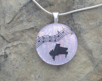 Piano Music Pendant Necklace Dichroic Fused Glass Piano Jewelry