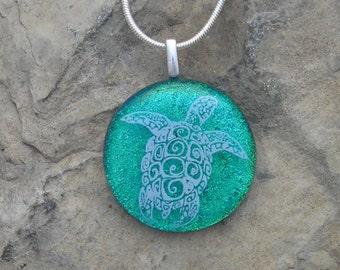 Sea Turtle Necklace Dichroic Fused Glass Sea Turtle Pendant