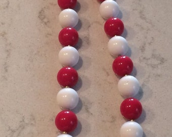 Super Fun Red and White Necklace