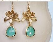 20 off. Lotus flower earrings. Gold and aqua earrings with framed crystal drop weddings bridal