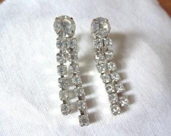 Dangle Drop Vintage Rhinestone Silver Tone Earrings