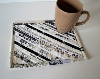 Cotton Mug Rug, Black Neutral Quilted Coaster, Mini Placemat, Selvage Upcycled Mug Mat