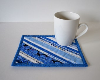 Blue Cotton Coaster, Mug Rug, Upcycled Placemat, Table Protector, Mini Quilt, Shades of Blue