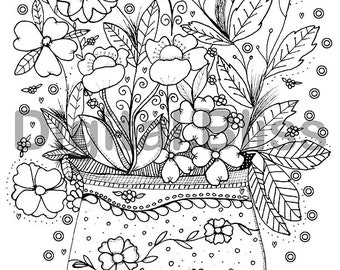 Adult Coloring Page, Instant Download Design Colouring Page, Flowers in Vase Coloring Page , Kids Colouring Page, Kids Craft Activity