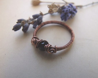 Black Cat Ring, Wire Wrapped Retro Copper Stack Ring, Rustic Boho Black Ring, Copper Jewelry