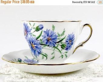 Royal Vale Footed China Teacup Tea Cup and Saucer Blue Cornflower England 13630