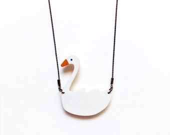 White Swan necklace · Hand-painted beech wood · Wooden Jewelry ·Wooden necklace  Handmade Jewelry · White Necklaces · Swan pendant · Olula