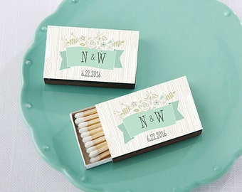 Set of 50 Personalized Black Rustic Matchboxes Wedding Party Matchbox Chic Bridal Shower