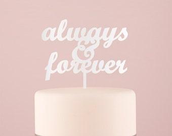 Always and Forever Wedding Cake Topper White Decoration Cake Pick Dessert Table Reception Whimsical Always & Forever