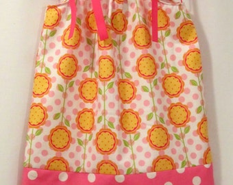 Pillowcase or Peasant Dress - Pineapple flowers - Pink and white polk-a-dots - Sizes Newborn to 10 Years