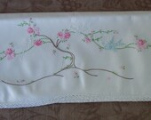 Vintage hand embroidered single standard size pillowcase birds on a branch.   C7-319-.25