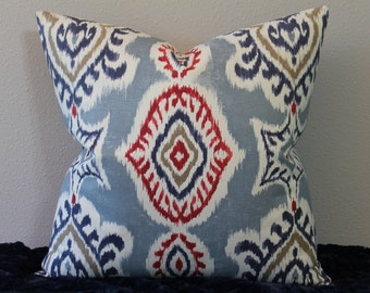 NEW Ikat Print - BOTH SIDES - Slate Blue, Red, Navy, Mocha and Ivory - Square Sizes - Decorative Designer Pillow Cover