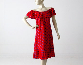 1960s polka dot sundress, vintage red off shoulder dress