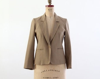 SALE 1980s linen blazer, vintage women's khaki jacket