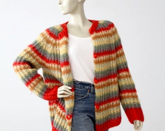 1960s mohair cardigan sweater, chunky knit cardi