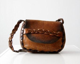vintage 60s leather handbag, hippie purse, braided shoulder bag