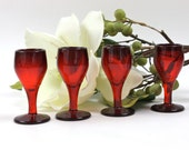 Red Cordial Glass Set - SET of 4, Cocktail Glasses, Ruby Red Glassware, Depression Glass, Vintage Barware, c.1930s