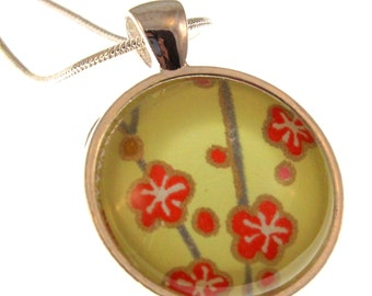 Blossoms on Chartreuse. Round Chiyogami Pendant