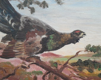 1953 Oil painting on board by M.B. Hemdal of a large European Grouse